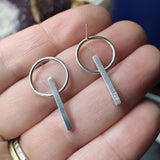 Sterling Silver Circle/Line Post Earrings