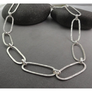 Oval Textured Sterling Silver Necklace