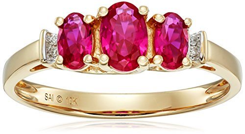 10k Yellow Gold July Birthstone 3-Stone Created Ruby with Diamond-Accent Ring, Size 8