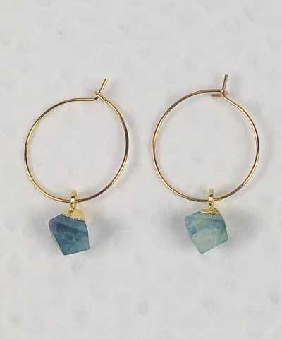 Flourite Hoop Earrings / Green Earrings