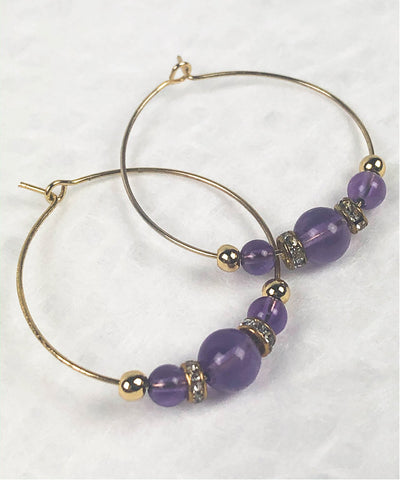 Amethyst Hoop Earrings / Purple Bohemian Hoop Earrings