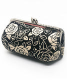Rose Weaved Metal Clasp Pouch / Black Makeup Pouch / Cute Makeup Bags