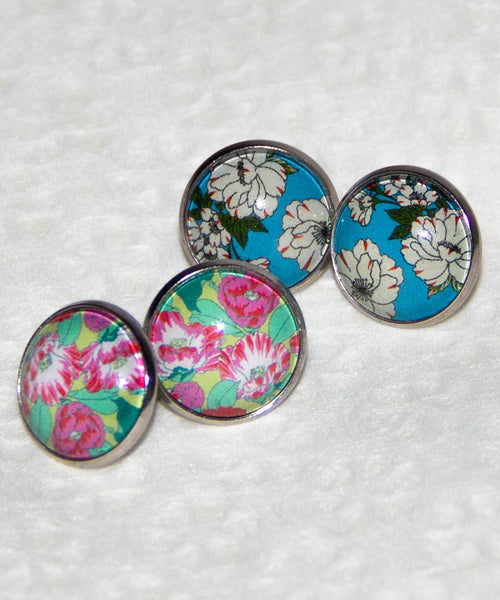 Chiyogami Hari Stained Glass Earrings / Sakura Earrings / Camellia Earrings