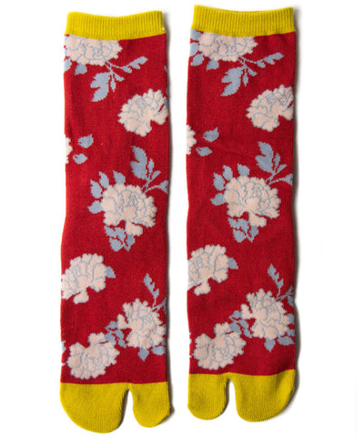 Red Peony Tabi Socks / High Quality Japanese Tabi Socks