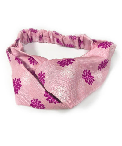 Kiku Design Cotton Fabric Stylish Headband / Pink / Purple