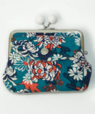 Waka Kiku Brocade Twin Gamaguchi Wallet / Chrysanthemum Coin Purse