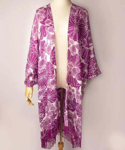 Hasu Fringe Cardigan / Lotus Cardigan / Purple / Blue