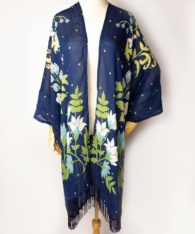 Fun Floral Fringe Cardigan / Navy / Light Beige