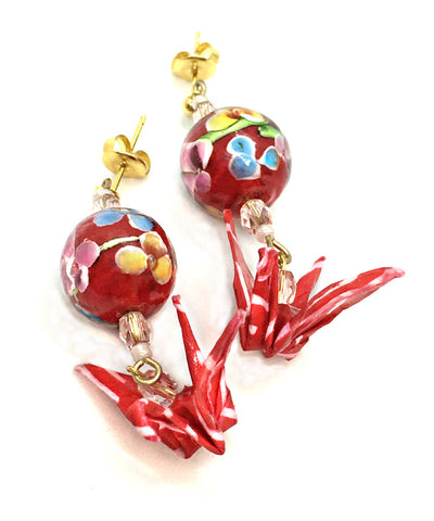 Blue & Red Origami Crane Earrings / Glass Bead Earrings