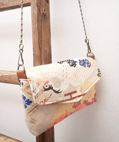 Beige Base Obi Detachable Crossbody Bag  / White Bird Kimono Obi