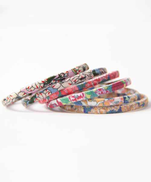 Japanese flower print Hair Tie Set (6pcs)