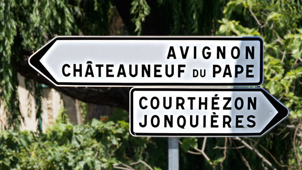 A Chateauneuf Du Pape road sign in Provence, France.