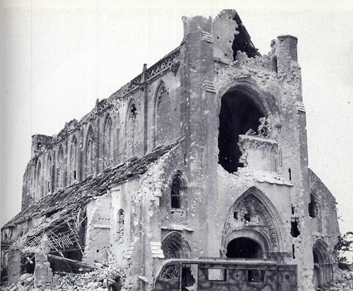 The Abbaye d'Ardenne as it stood after the D-Day invasion in 1944.