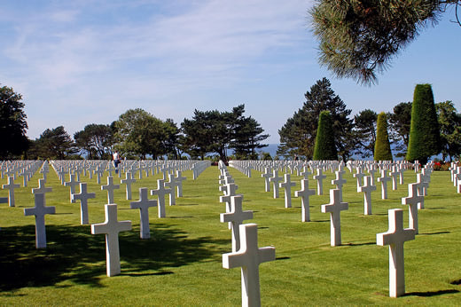 The American military Cemetery at Colleville-sur-Mer in Normandy, France on a sunny day.