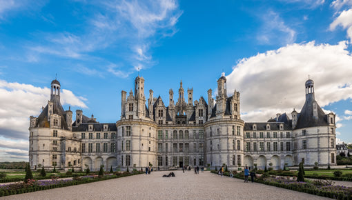 Visitors approach the historic Chambord castle in the Loire Valley.
