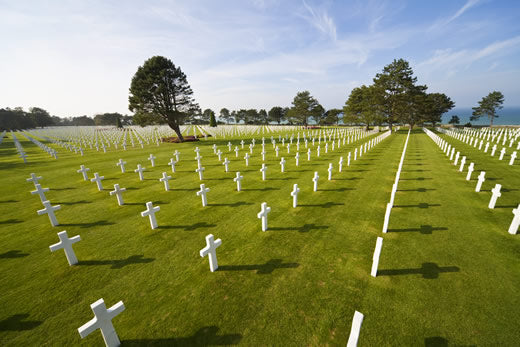 Rows of headstones at the American military cemetery at  Colleville-Sur-Mer.