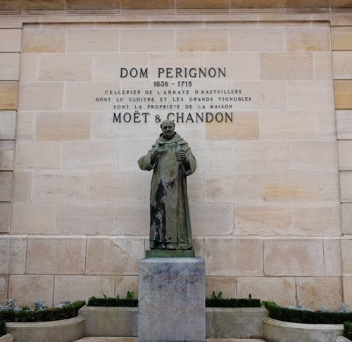 Dom Perignon statue at the Moet and Chandon cellars in Epernay, France