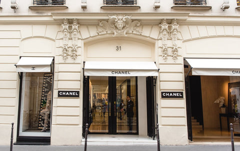 The exterior view of the Chanel headquarters from across the street in Paris, France.