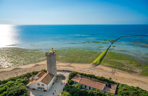 An aerial view of the old lighthouse on the Ile de Re in the Cognac region of France.