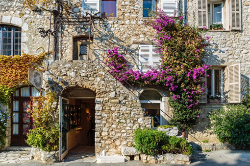 The entrance way of an old stone house in the Provence region of France.