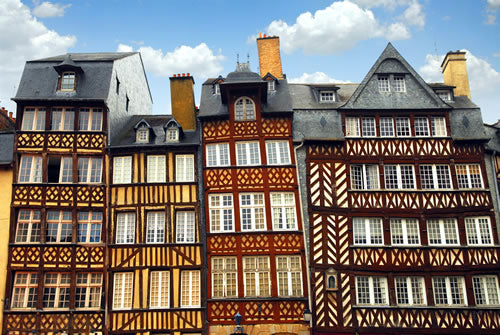 Rennes, France half-timbered houses