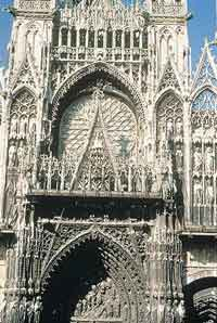 The facade of the cathedral in Rouen, France.