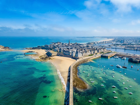 An aerial view of the medieval town of Saint Malo in Brittany, France.