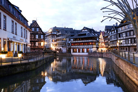 The canal in the center of charming old Strasbourg in Alsace, France
