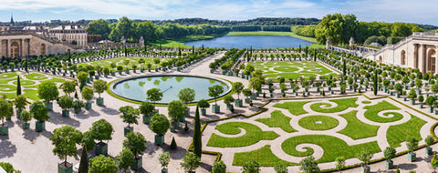 A view of the gardens at Versailles from the palace grounds.