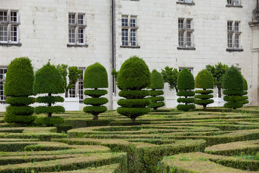 The exterior and garden of Villandry castle in the Loire Valley, France..