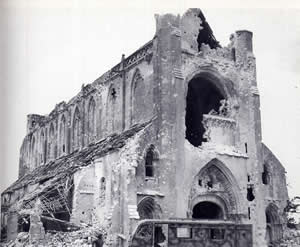 The Abbaye as it stood after the D-Day invasion in 1944