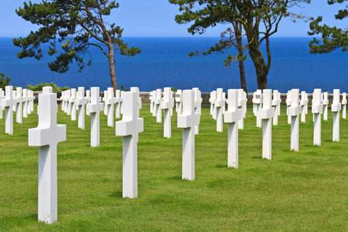 Headstones at the American military Cemetery at Colleville Sur Mer in Normandy, France.