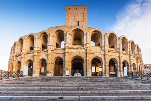 The exterior of amphitheater in Arles in Provence, France.