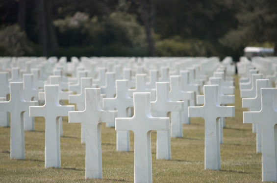 Gravestones at the American Military Cemetery at Colleville-sur-Mer.