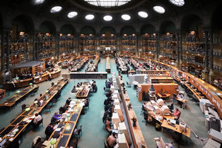 The main floor of the Bibliotheque Nationale de France.
