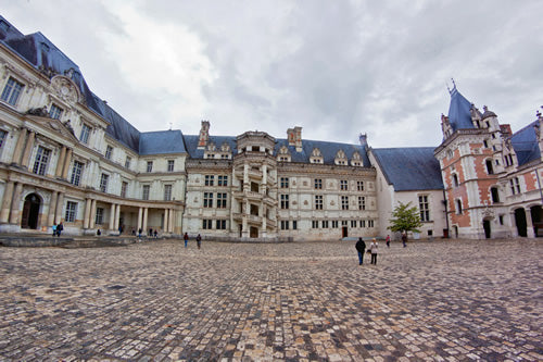 Blois castle courtyard in the Loire Valley, France