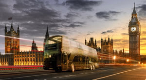 The Bustronome bus in London at Sunset.