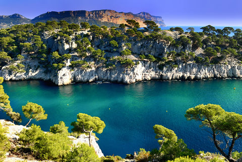 A view from atop a Calanque in Provence, France during the summer.