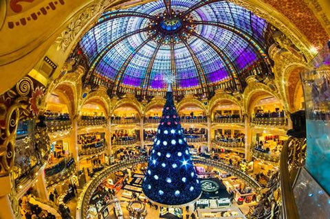 The giant Christmas tree inside the Galeries Lafayette department store in Paris, France.
