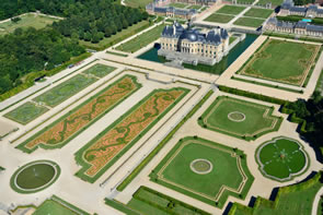 An aerial view of Vaux le Vicomte castle in France.