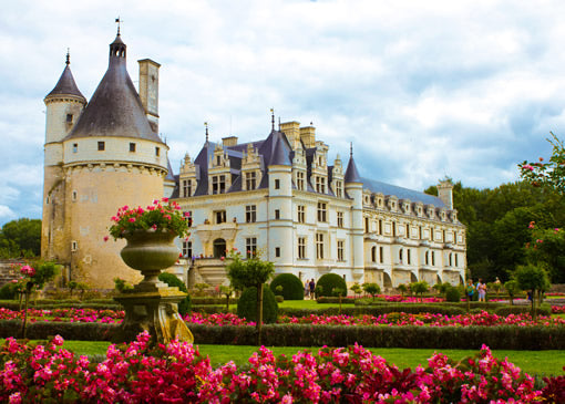 The gardens of Chenonceau castle in the Loire Valley.