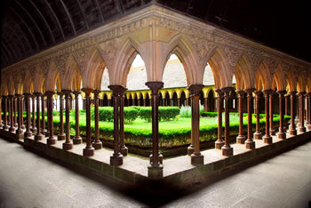 The cloisters at Mont St. Michel abbey in Normandy, France.