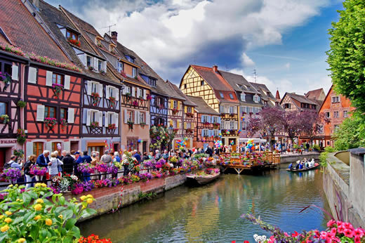 The canal of Little Venice in Colmar, France.