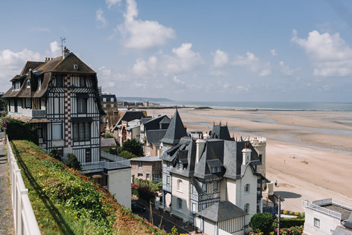 A half-timbered house over looking the beach in Deauville, France.