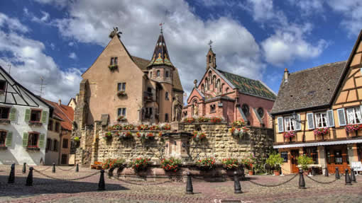 The village of Eguisheim in Alsace, France
