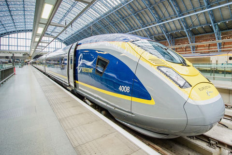 The first car and engine of a Eurostar train.