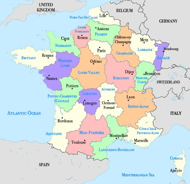 Interactive France Map   Regions and Cities – LinkParis.com