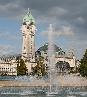 The fountain in front of the Limoges Rail Station.