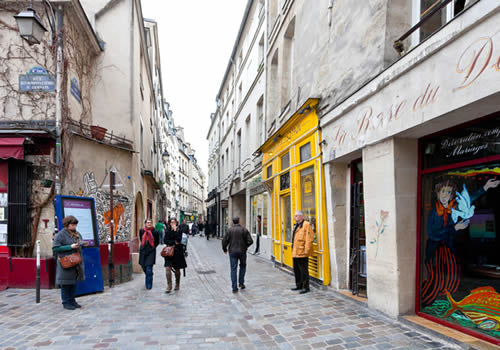 Marais, Paris - one of the many cobblestone street in the district.