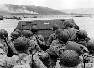 Soldiers landing at Omaha Beach